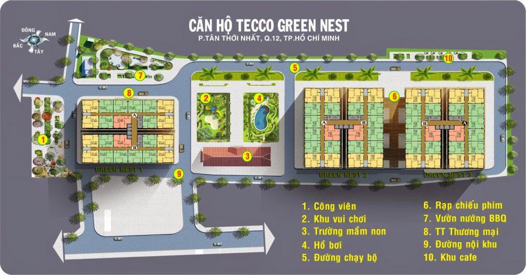 Mặt bằng tổng thể khu dân cư TECCO GREEN NEST quận 12
